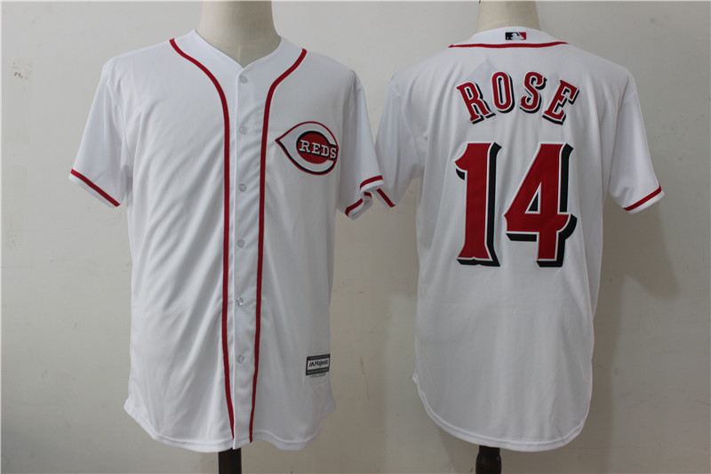 Reds 14 Pete Rose White Cool Base Jersey
