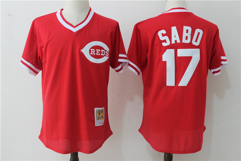 Reds 17 Chris Sabo Red Cooperstown Collection Mesh Batting Practice Jersey