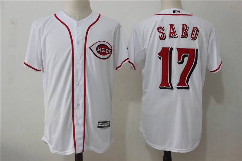 Reds 17 Chris Sabo White Cool Base Jersey