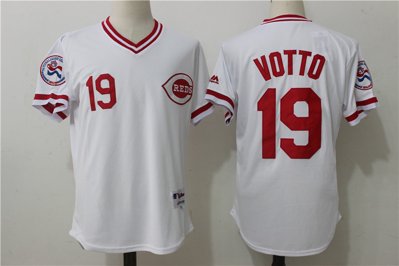 Reds 19 Joey Votto White Cooperstown Collection Jersey