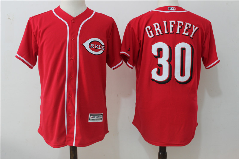 Reds 30 Ken Griffey Jr Red Cool Base Jersey