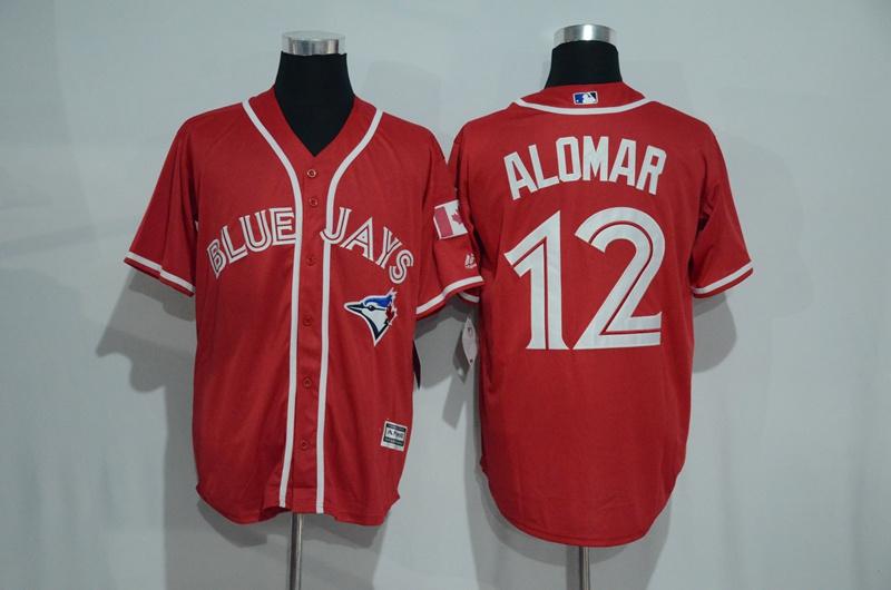 Blue Jays 12 Roberto Alomar Red Alternate Cool Base Jersey