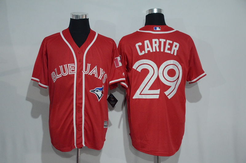 Blue Jays 29 Joe Carter Red Alternate Cool Base Jersey