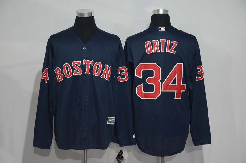 Red Sox 34 David Ortiz Navy Long Sleeve Cool Base Jersey