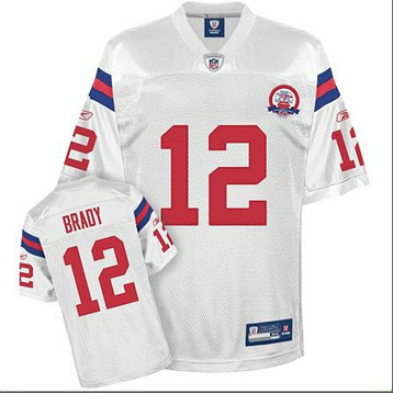 Patriots 12 Tom Brady White With 50th Anniversary Season M&N Jersey