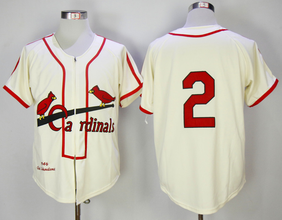 Cardinals 2 Red Schoendienst Cream 1946 Mitchell & Ness Jersey