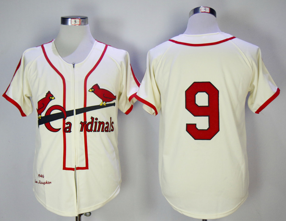 Cardinals 9 Roger Maris Cream 1946 Mitchell & Ness Jersey