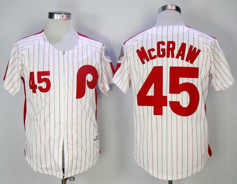 Phillies 45 Tug McGraw White 1983 Mitchell & Ness Jersey