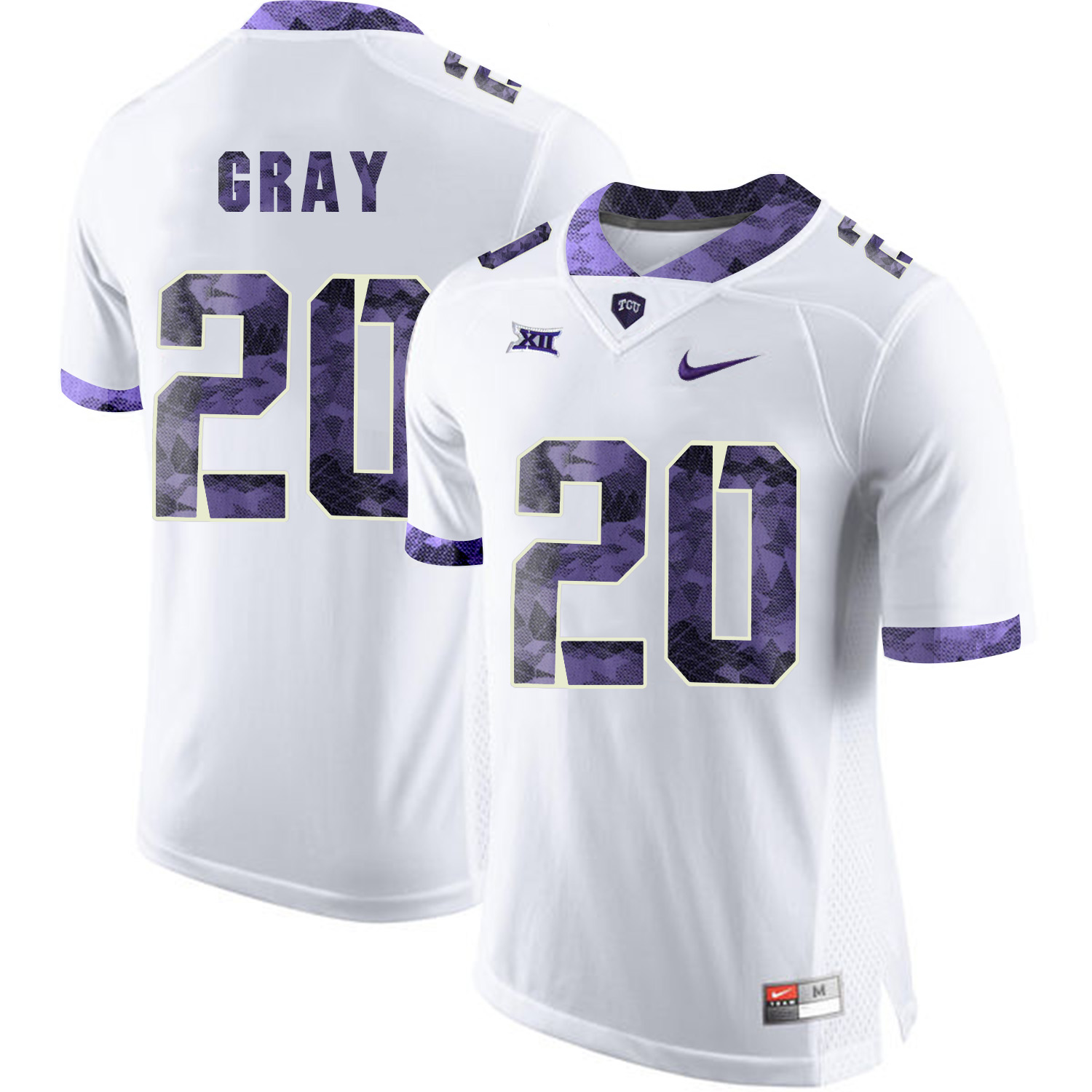 TCU Horned Frogs 20 Deante Gray White Print College Football Limited Jersey