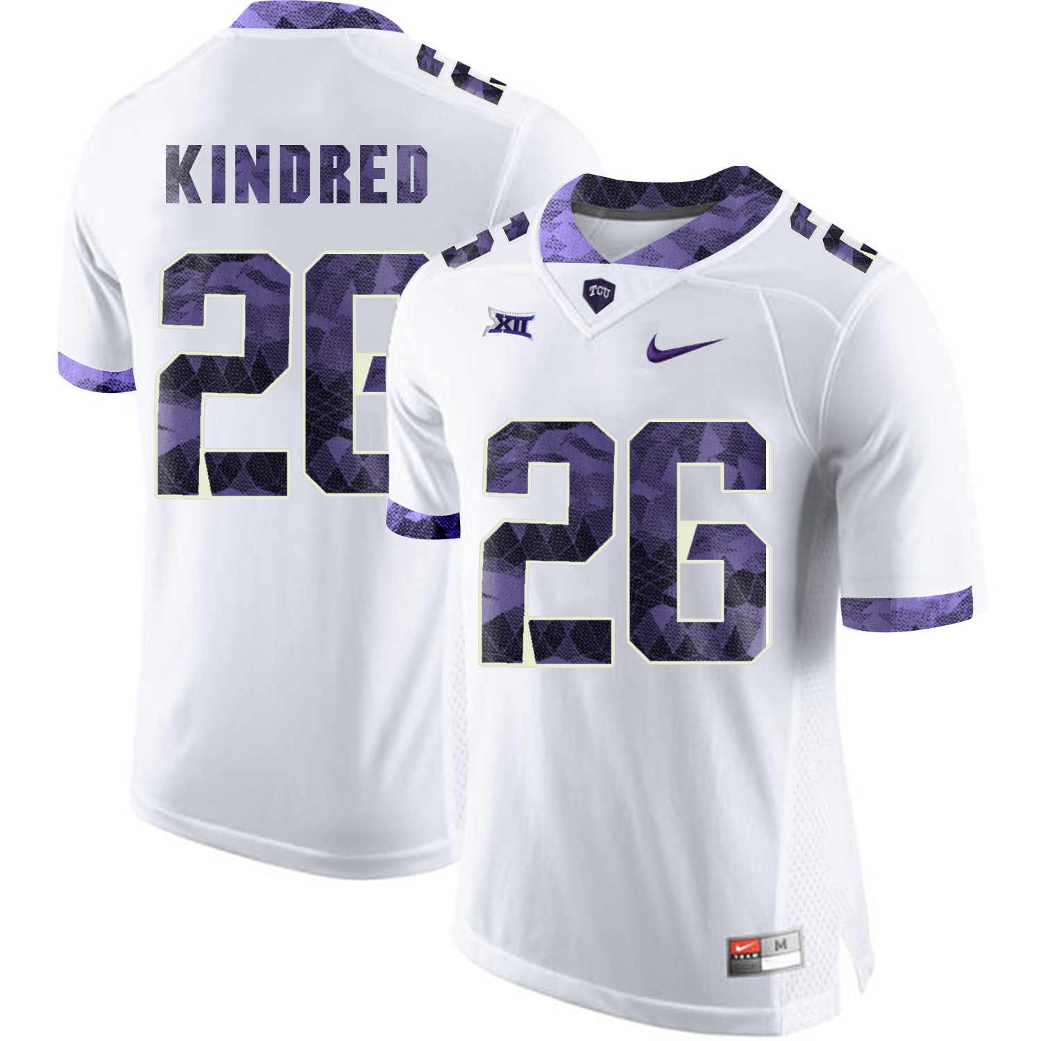 TCU Horned Frogs 26 Derrick Kindred White Print College Football Limited Jersey