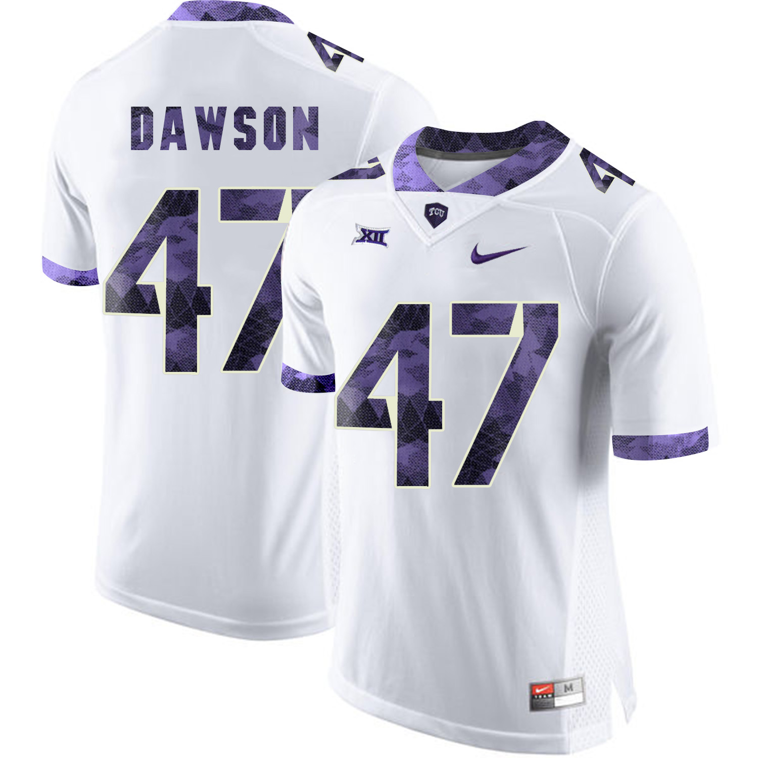TCU Horned Frogs 47 P.J. Dawson White Print College Football Limited Jersey