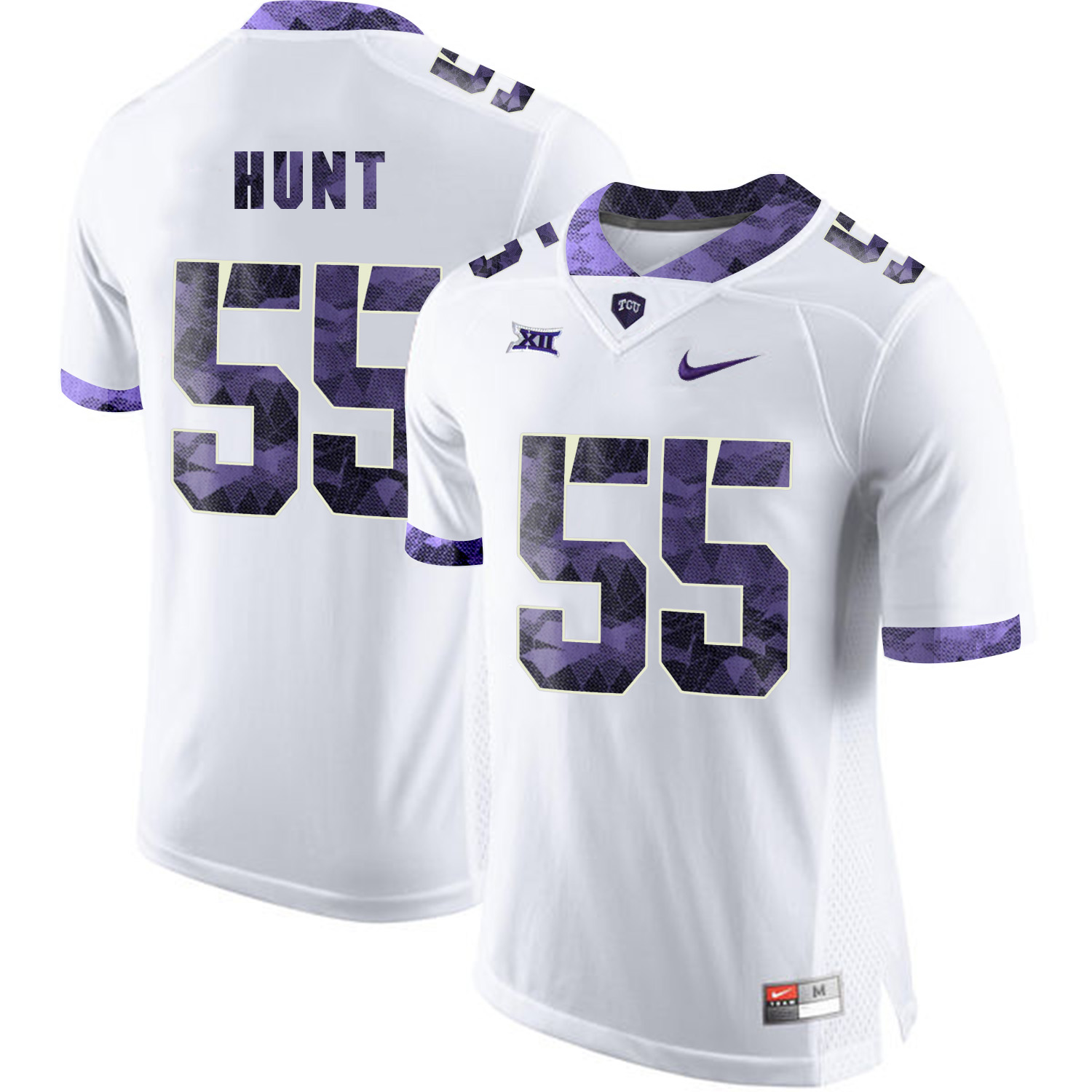 TCU Horned Frogs 55 Joey Hunt White Print College Football Limited Jersey