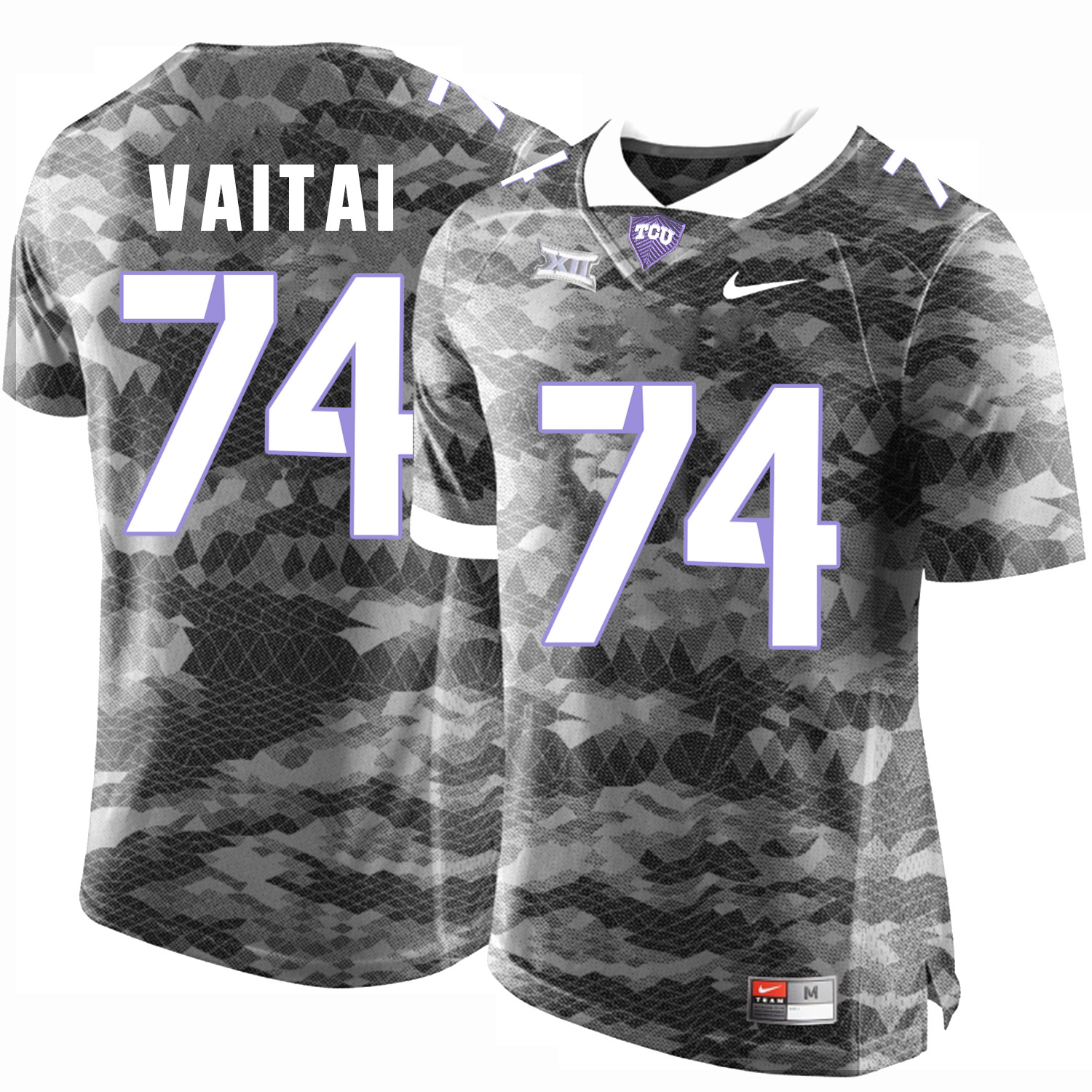 TCU Horned Frogs 74 Halapoulivaati Vaitai Gray College Football Limited Jersey