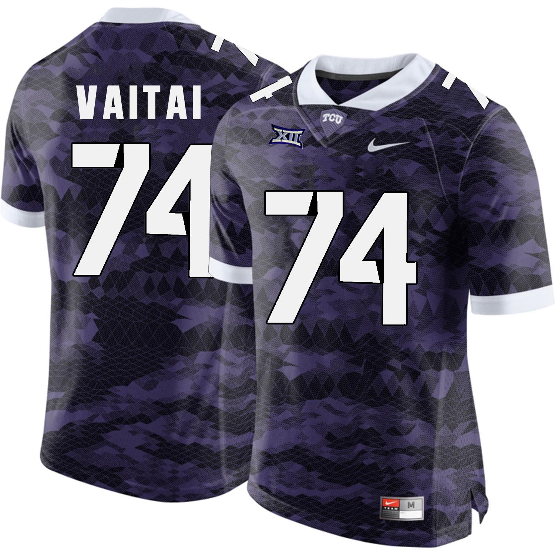 TCU Horned Frogs 74 Halapoulivaati Vaitai Purple College Football Limited Jersey