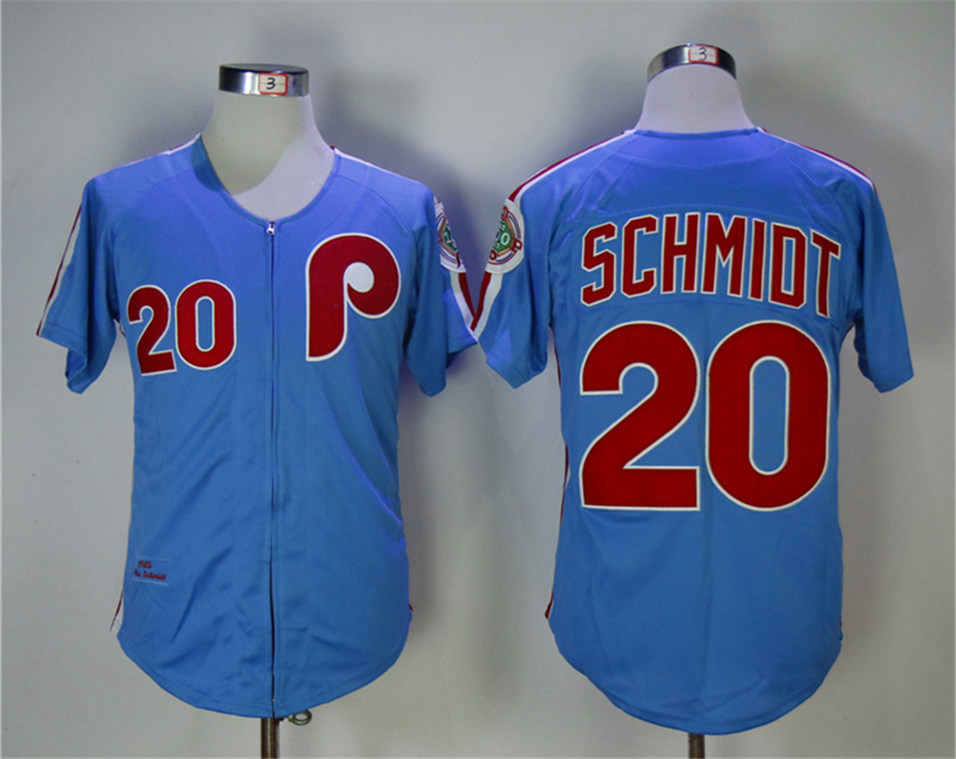 Phillies 20 Mike Schmidt Blue 1983 Throwback Jersey