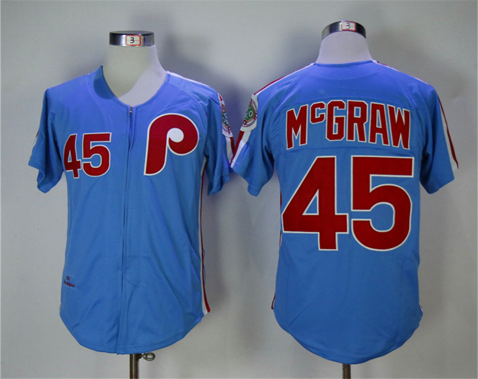 Phillies 45 Tug McGraw Blue 1983 Throwback Jersey