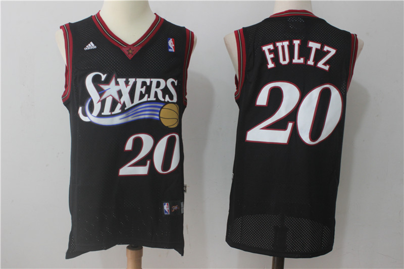 76ers 20 Markelle Fultz Black Throwback Jersey