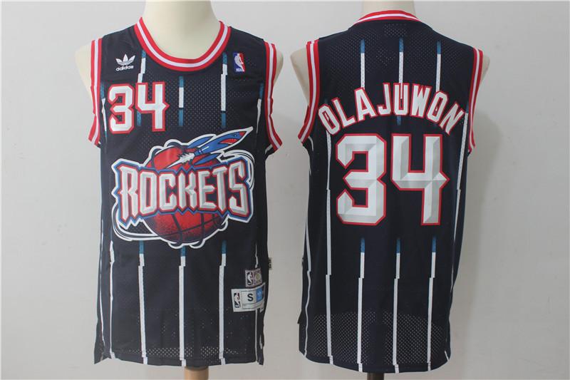 Rockets 34 Hakeem Olajuwon Navy Hardwood Classics Jersey