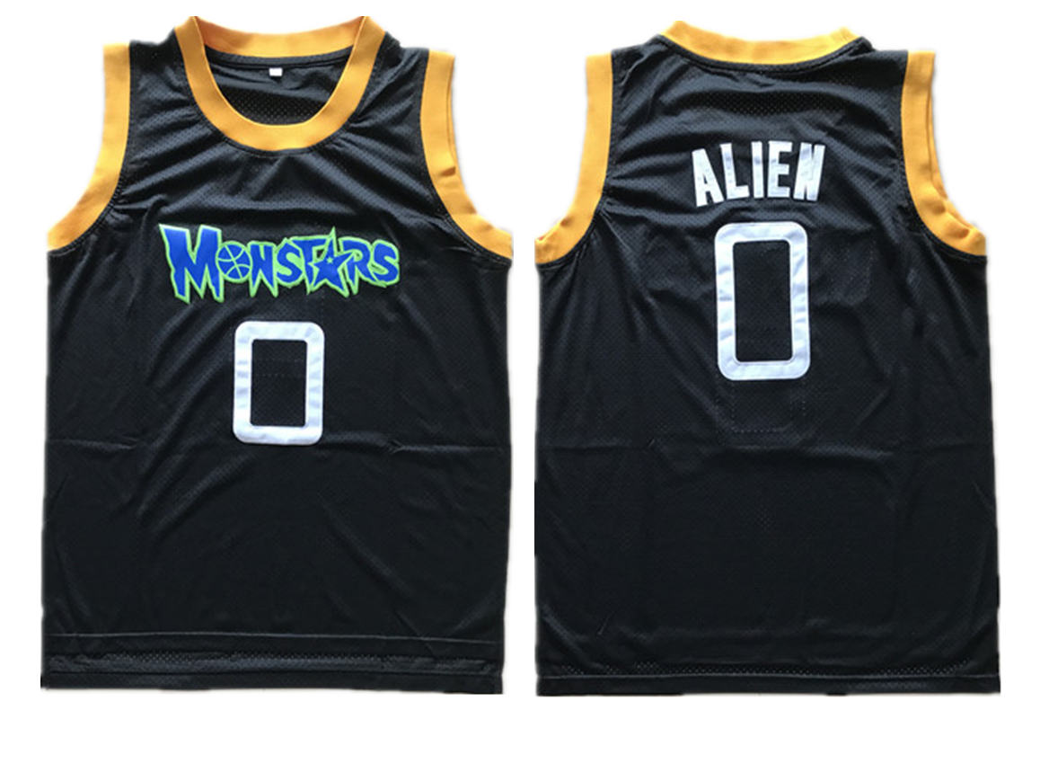 Monstars 0 Alien Black Space Jam Stitched Movie Jersey
