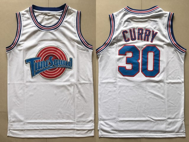 Tune Squad 30 Stephen Curry White Stitched Movie Jersey