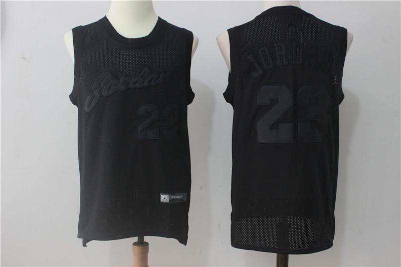 Bulls 23 Michael Jordan All Black Mesh Jersey