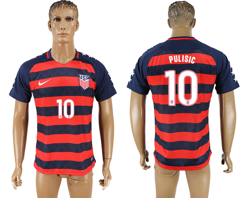 USA 10 PULISIC 2017 CONCACAF Gold Cup Away Thailand Soccer Jersey