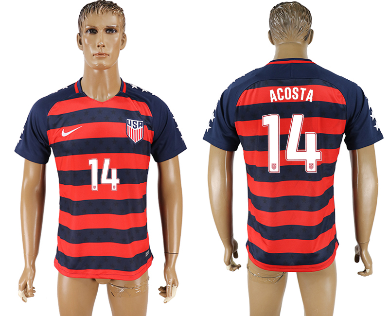 USA 14 ACOSTA 2017 CONCACAF Gold Cup Away Thailand Soccer Jersey