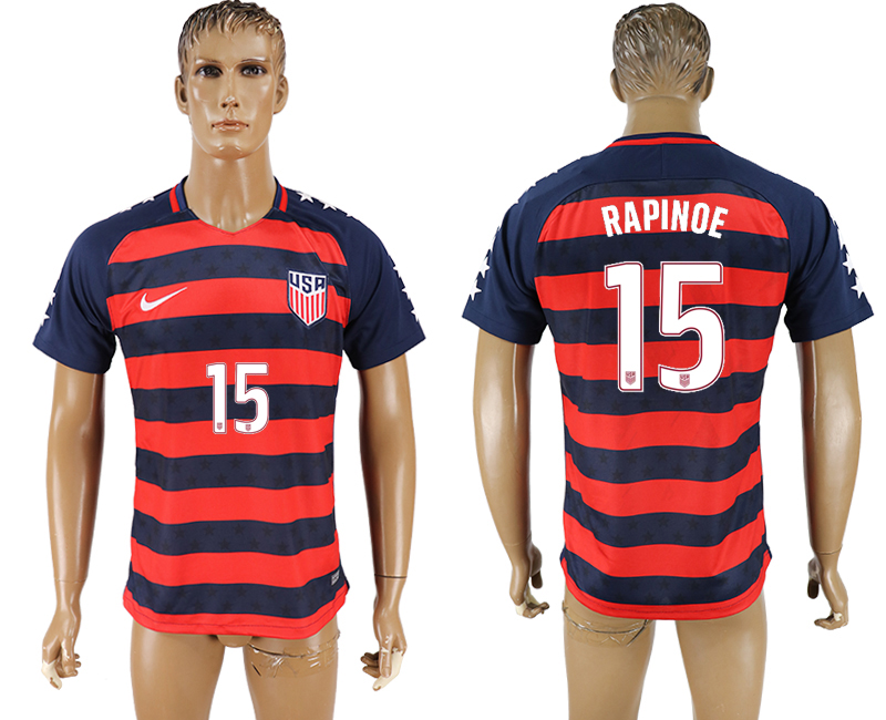 USA 15 RAPINOE 2017 CONCACAF Gold Cup Away Thailand Soccer Jersey