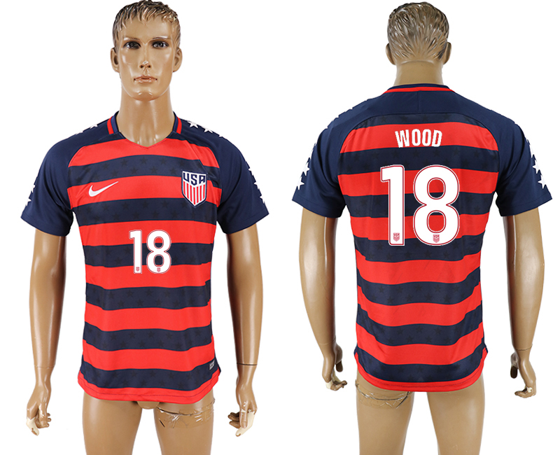 USA 18 WOOD 2017 CONCACAF Gold Cup Away Thailand Soccer Jersey