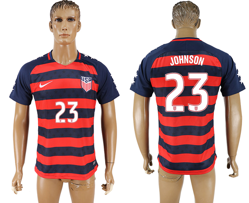 USA 23 JOHNSON 2017 CONCACAF Gold Cup Away Thailand Soccer Jersey