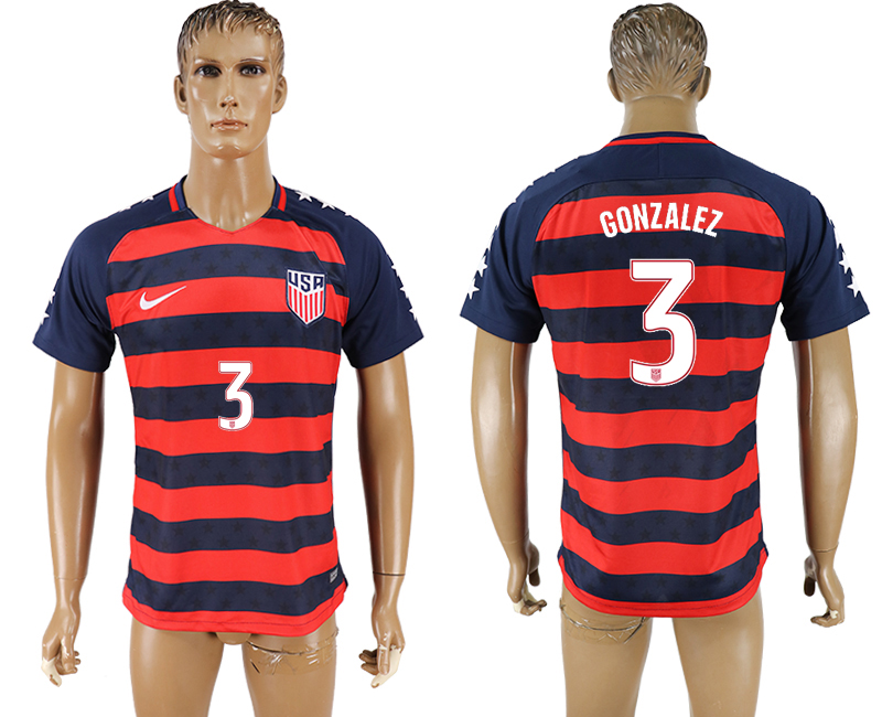 USA 3 GONZALEZ 2017 CONCACAF Gold Cup Away Thailand Soccer Jersey
