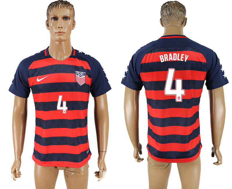 USA 4 BRADLEY 2017 CONCACAF Gold Cup Away Thailand Soccer Jersey