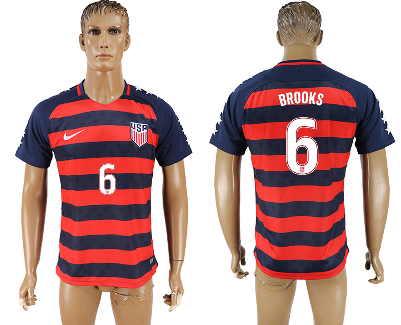 USA 6 BROOKS 2017 CONCACAF Gold Cup Away Thailand Soccer Jersey