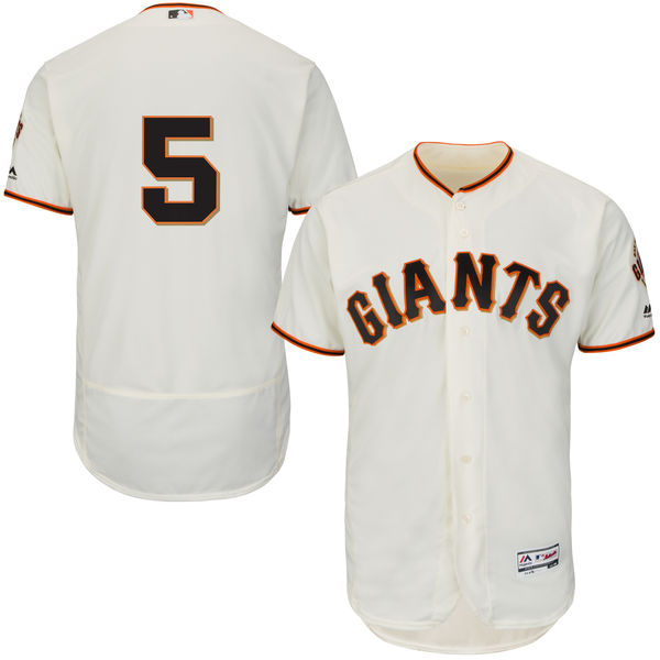 Giants 5 Matt Duffy Cream Flexbase Jersey