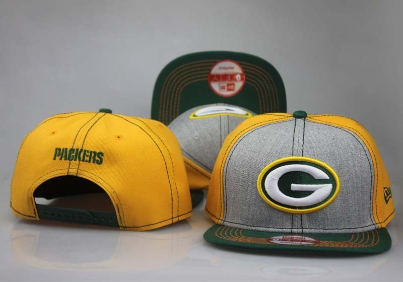 Packers Team Logo Yellow & Gray Snapback Adjustable Hat LT