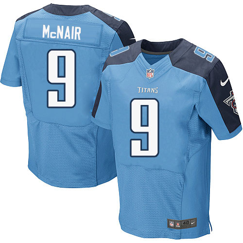 Nike Titans 9 Steve McNair Light Blue Elite Jersey