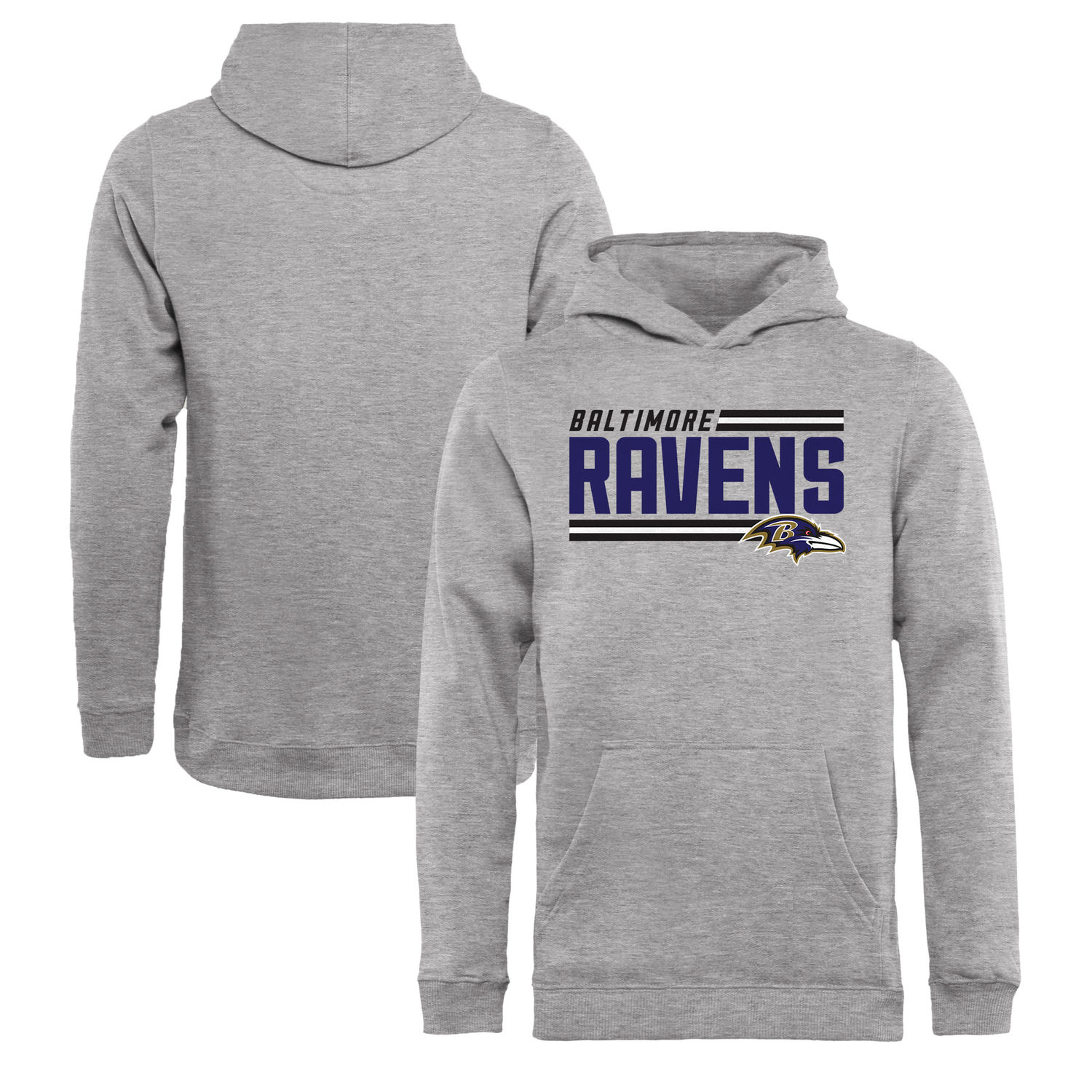 Youth Baltimore Ravens NFL Pro Line by Fanatics Branded Ash Iconic Collection On Side Stripe Pullover Hoodie