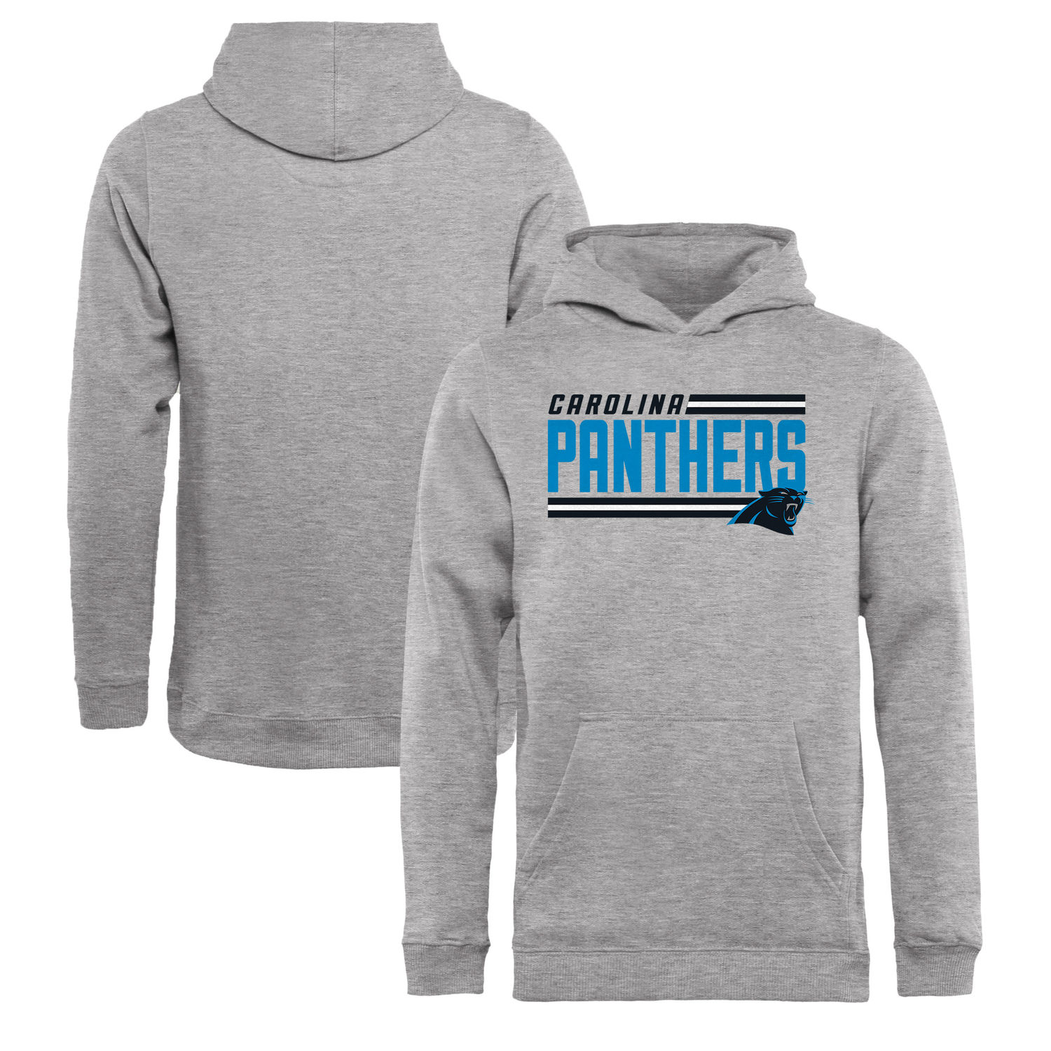 Youth Carolina Panthers NFL Pro Line by Fanatics Branded Ash Iconic Collection On Side Stripe Pullover Hoodie