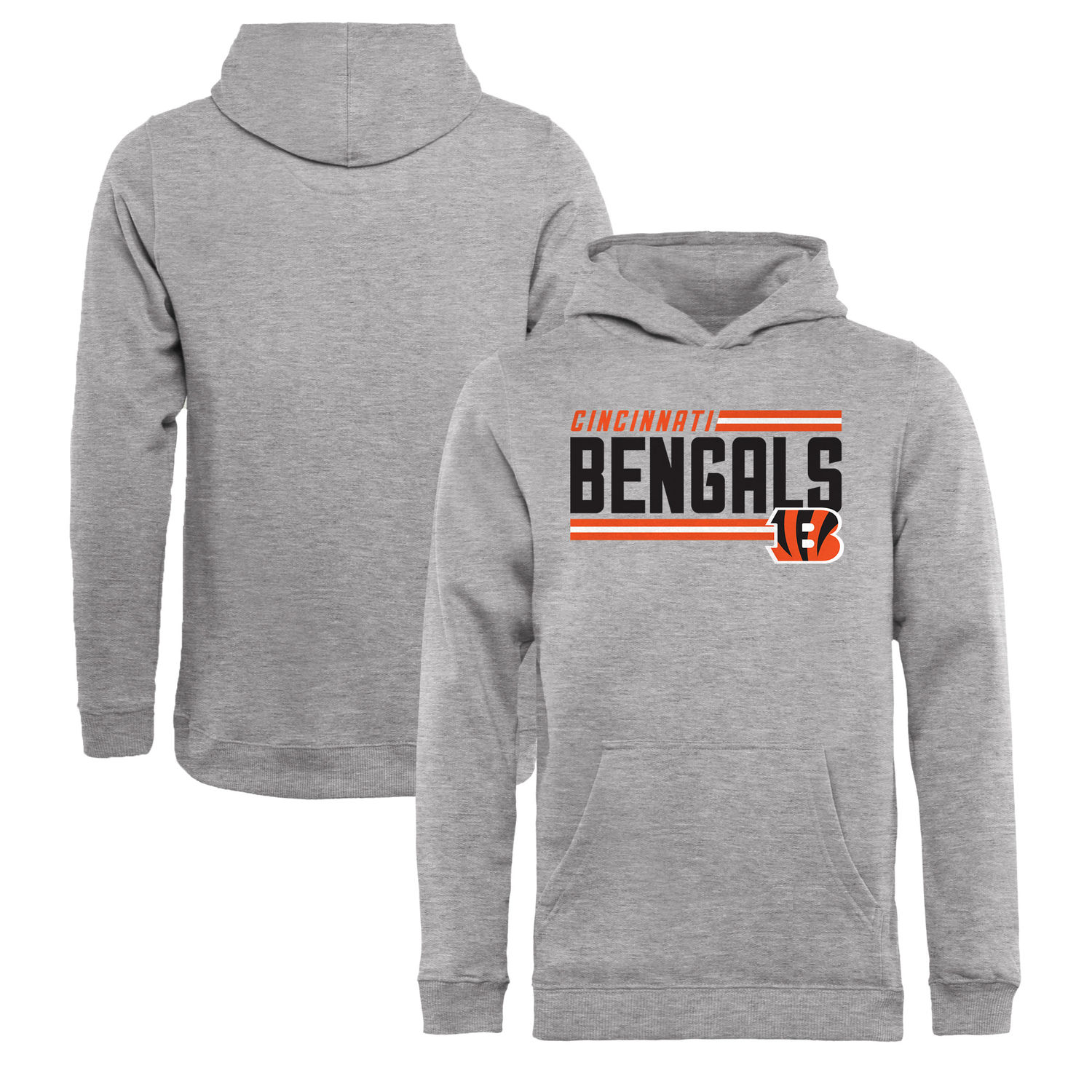 Youth Cincinnati Bengals NFL Pro Line by Fanatics Branded Ash Iconic Collection On Side Stripe Pullover Hoodie