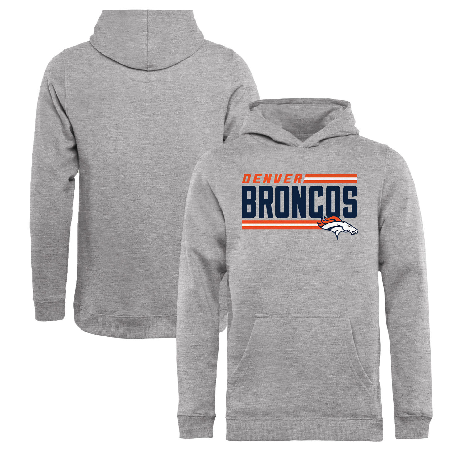 Youth Denver Broncos NFL Pro Line by Fanatics Branded Ash Iconic Collection On Side Stripe Pullover Hoodie