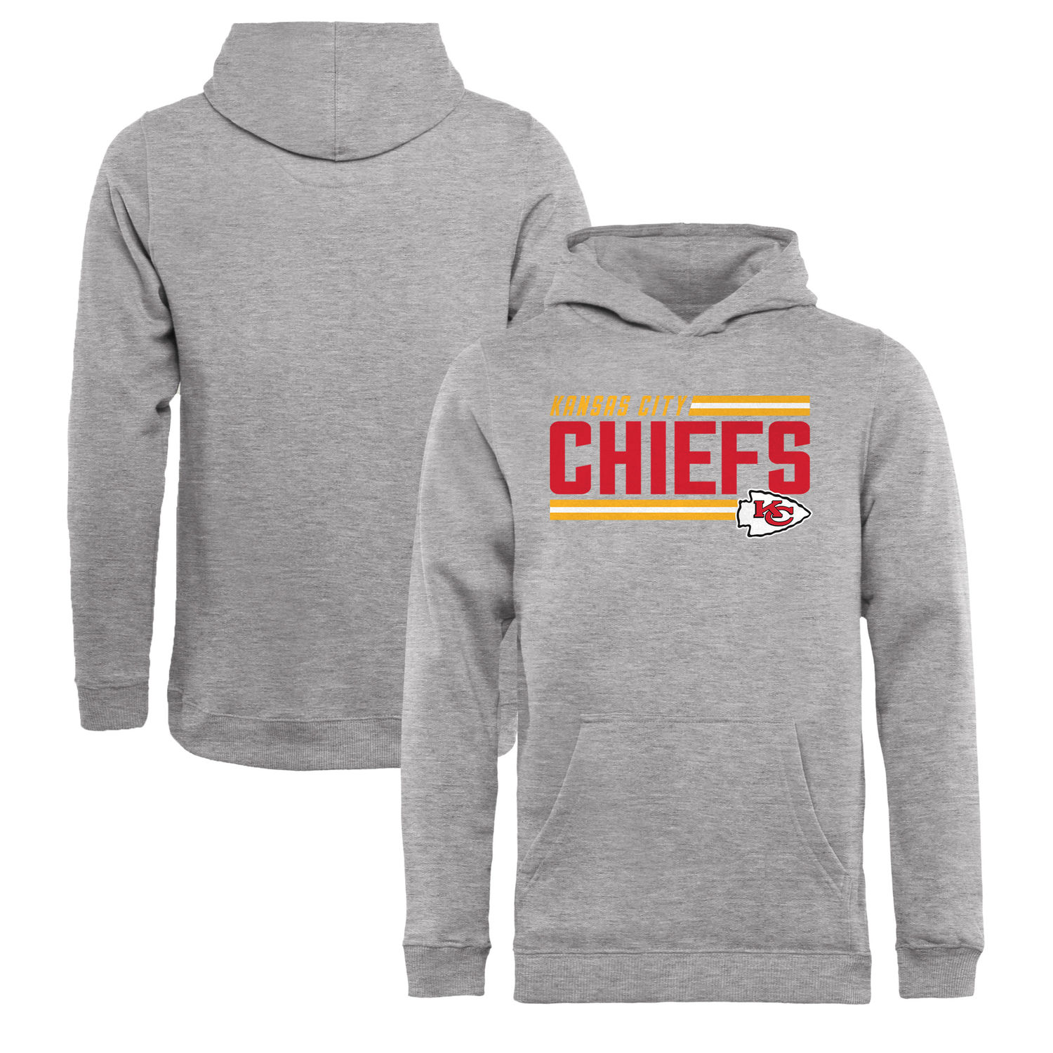 Youth Kansas City Chiefs NFL Pro Line by Fanatics Branded Ash Iconic Collection On Side Stripe Pullover Hoodie