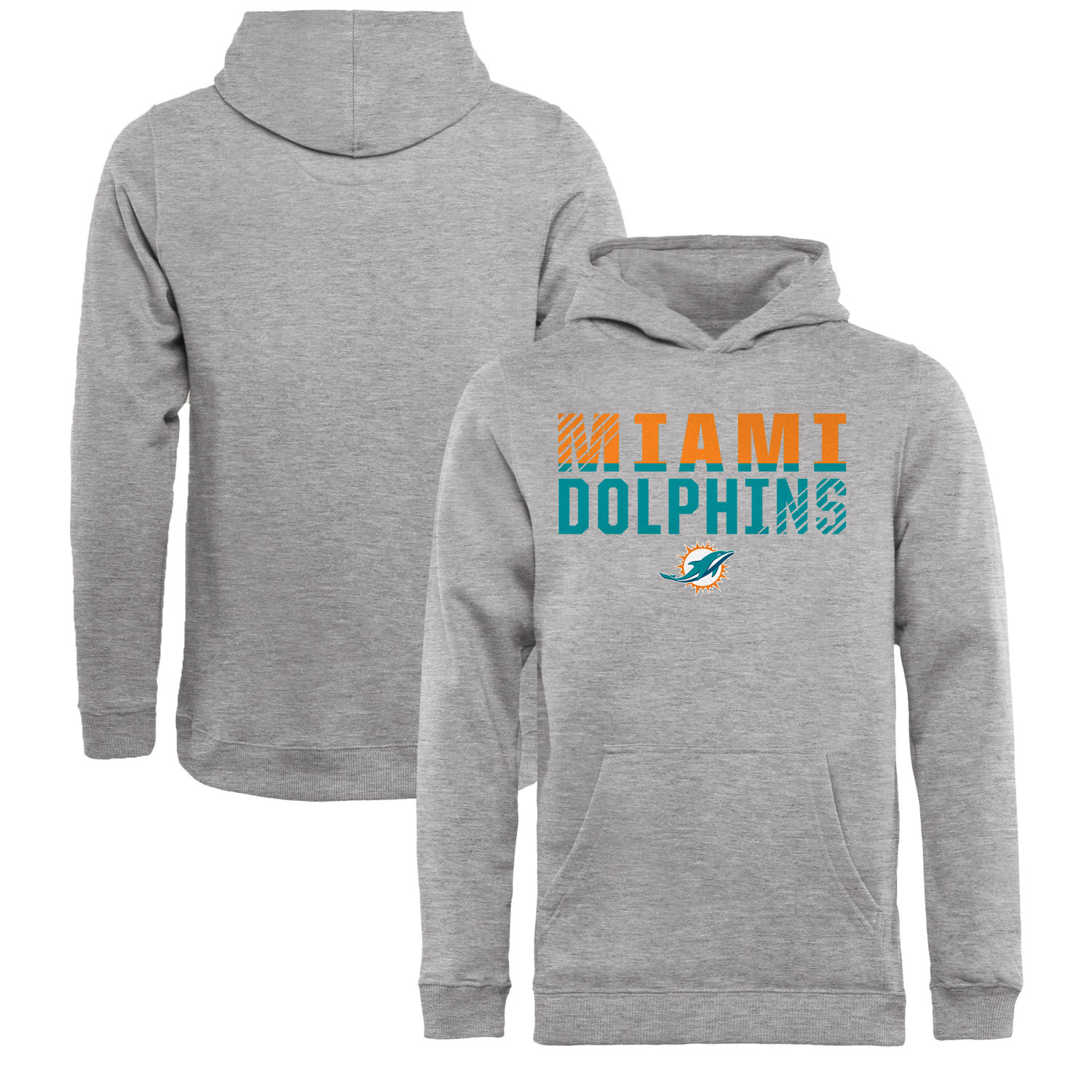 Youth Miami Dolphins NFL Pro Line by Fanatics Branded Ash Iconic Collection Fade Out Pullover Hoodie