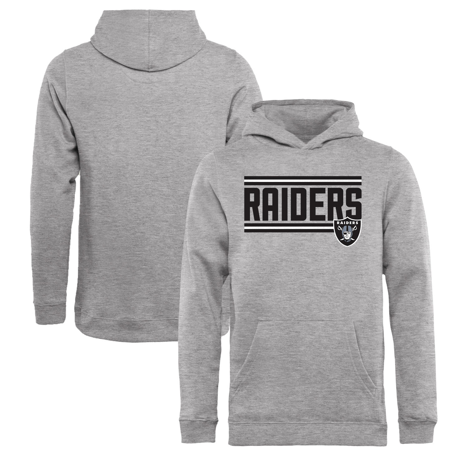 Youth Oakland Raiders NFL Pro Line by Fanatics Branded Ash Iconic Collection On Side Stripe Pullover Hoodie