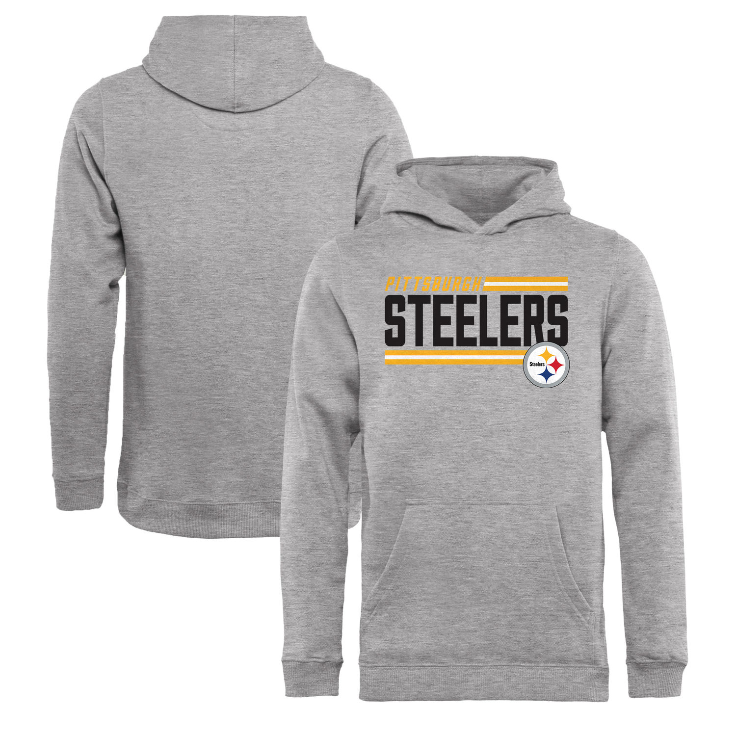 Youth Pittsburgh Steelers NFL Pro Line by Fanatics Branded Ash Iconic Collection On Side Stripe Pullover Hoodie
