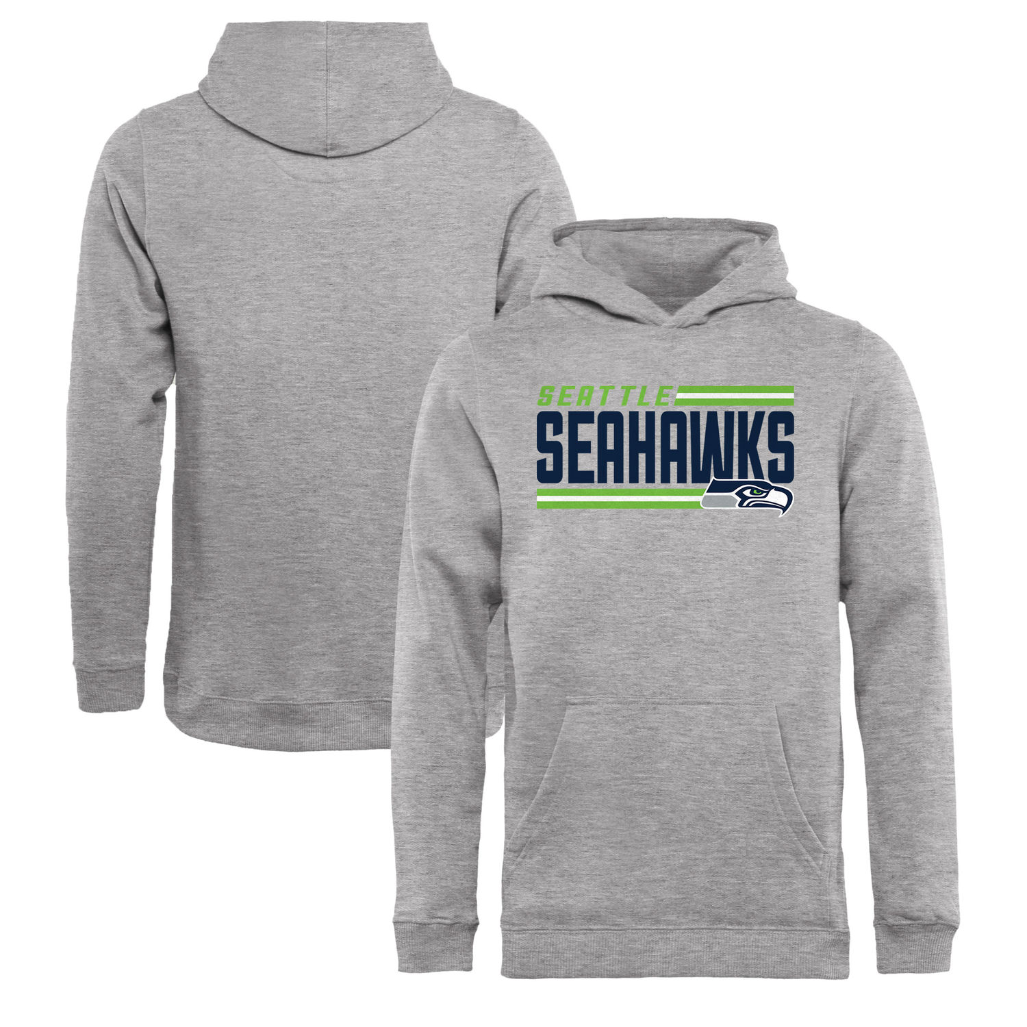 Youth Seattle Seahawks NFL Pro Line by Fanatics Branded Ash Iconic Collection On Side Stripe Pullover Hoodie