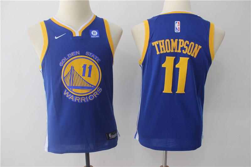 Warriors 11 Klay Thompson Blue Youth Nike Swingman Jersey