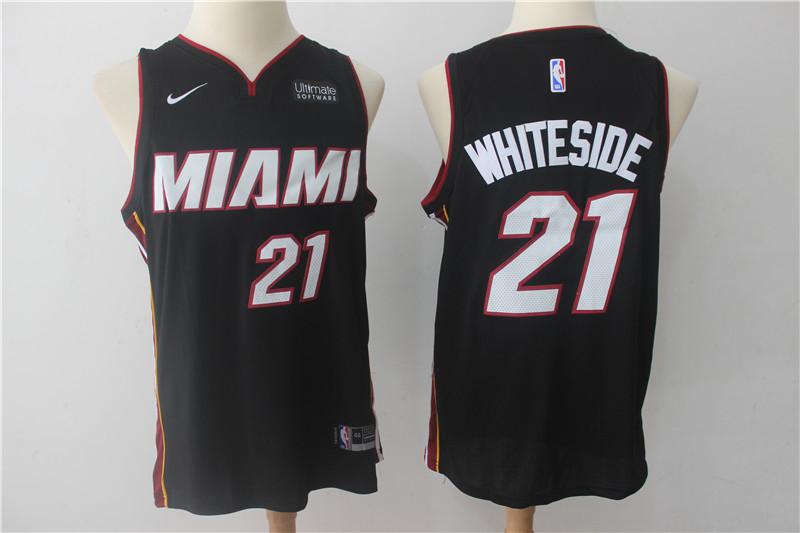 Heat 21 Hassan Whiteside Black Nike Authentic Jersey