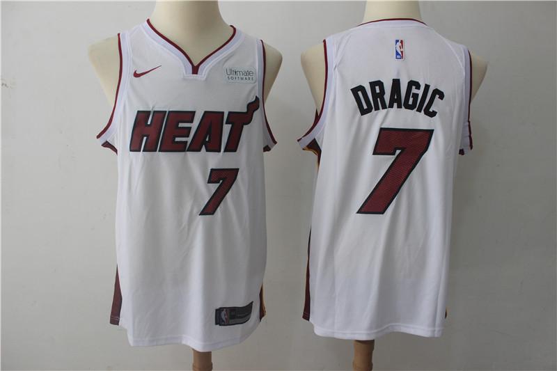 Heat 7 Goran Dragic White Nike Authentic Jersey