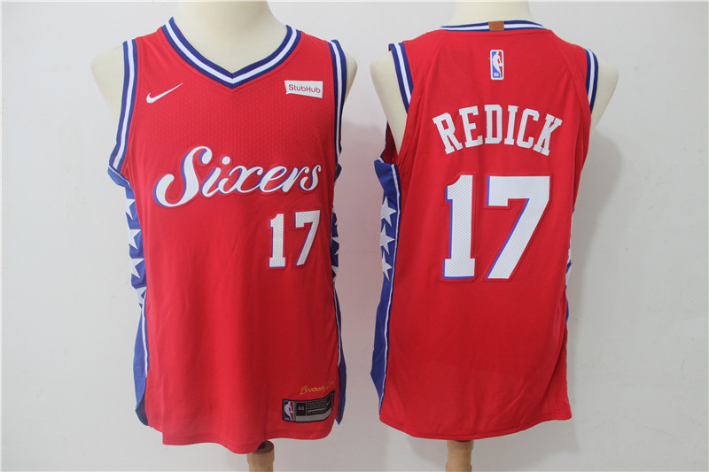 76ers 17 J.J. Redick Red Nike Authentic Jersey