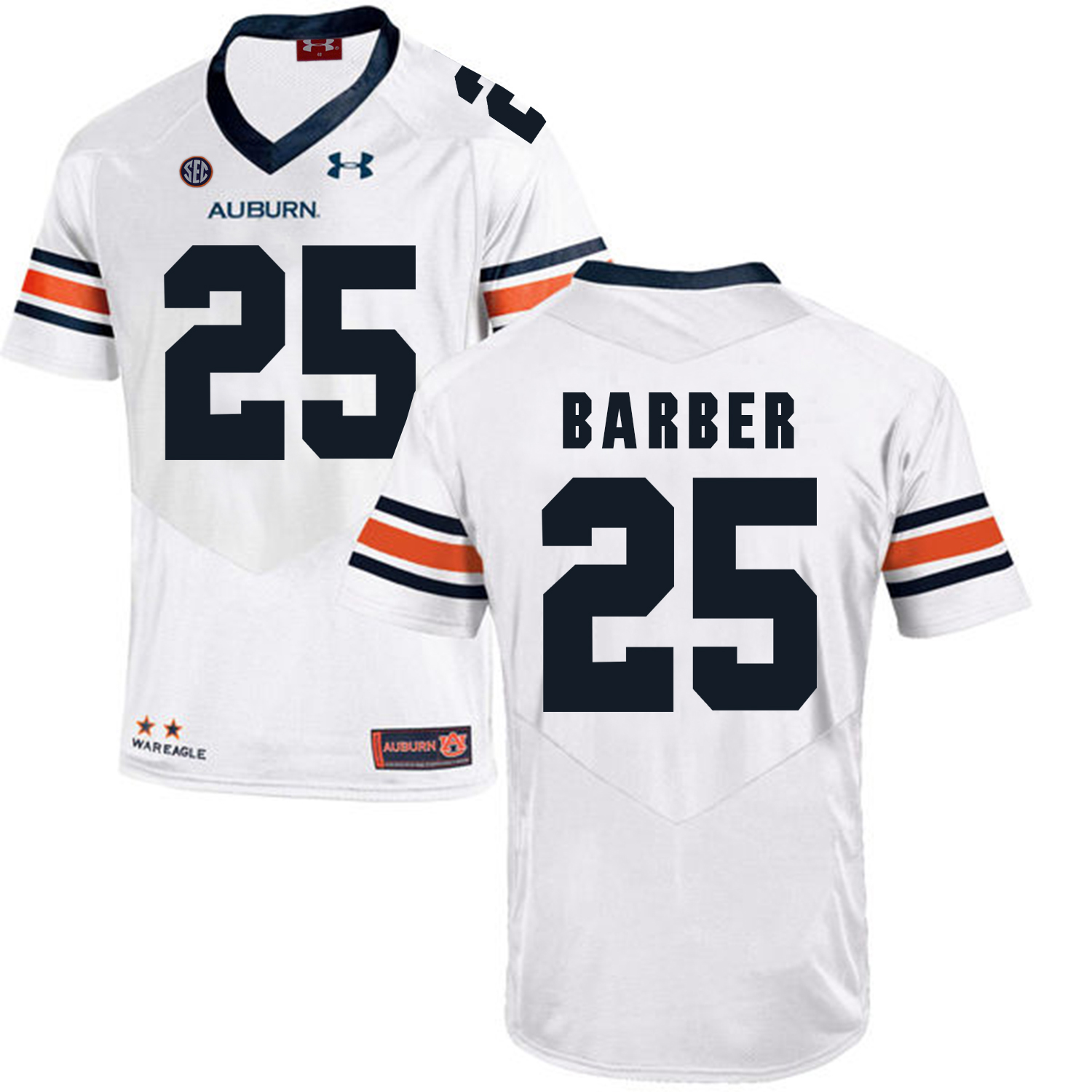 Auburn Tigers 25 Peyton Barber White College Football Jersey